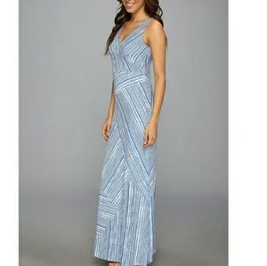 Tommy Bahama dress stripped blue white maxi long
